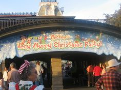 The sign for Mickey's Very Merry Christmas Party at Walt Disney World