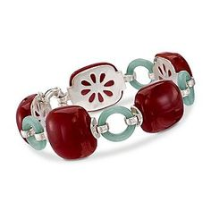 Red and Green Jade Bracelet In Sterling Silver