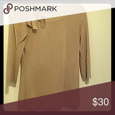 Anthropologie Women's blouse Fall top with key hole and bow detail. Fine fabric with shimmer and gold undertone. Tencel, nylon, metallic. Like new. Anthropologie Tops Blouses