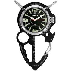 Dakota Watch Company Multi-Tool Clip Watch, Black