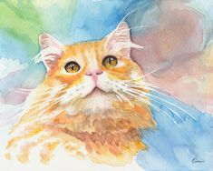 Watercolor Smile Cat prints signed by artist animal art Christmas gift by KathleenWongArt on Etsy Art Christmas Gifts, Watercolor Cat, Catio, Cat Design, Art Pages, Cat Art, Fine Art Paper, Fine Art America, Art Prints