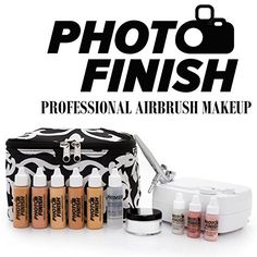 awesome Photo Finish Professional Airbrush Cosmetic Makeup System Kit / Fair to Medium Shades 5pc Foundation Set with Blush, Concealer, Shimmer, Primer and Silica Finishing Powder (Matte Finish)