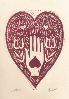 Love Token Hand in Heart Linocut Print