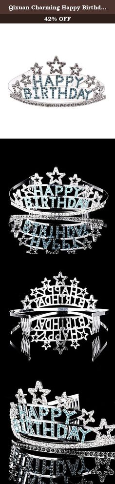 """Qixuan Charming Happy Birthday Rhinestone Heart Flower Design Tiara Crown Headband Comb Pin Happy Birthday Tiaras (Blue). Description The tiara is an elegant and beautiful ladies crown headband tiara. Various colors for your choice, with the shining rhinestone """"Happy Birthday"""" letters on the tiara, it is a very charming and outstanding hair accessory ideal for birthday parties. Package Including 1 * Happy Birthday Sparkling Crystal Rhinestones Crown Tiara Headband."""