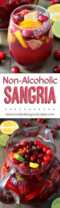 Non-Alcoholic Sangria Drink Recipe via Love Bakes Good Cakes - This is SOOOOO GOOD!! I'm saving this for all of our parties and holidays! The BEST Easy Non-Alcoholic Drinks Recipes - Creative Mocktails and Family Friendly, Alcohol-Free, Big Batch Party Beverages for a Crowd!