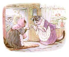 Illustrations for 1907 edition of The Tale of Tom Kitten - Beatrix Potter Cumbria, Beatrix Potter Illustrations, Beatrice Potter, Beatrix Potter Figurines, Peter Rabbit And Friends, Woodland Creatures, Book Illustration, Cat Art, Illustrators