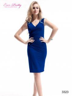 Ever Pretty I Sexy V-neck Sapphire Blue Ruffles Button BNWT Cocktail Dress $49.99  #bluedress #cocktaildress