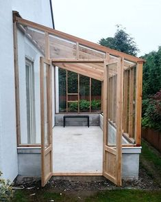 Lean to greenhouses and solariums are a wonderful architectural feature that you can grow food in. See some lean to greenhouse plans, inspiration for solariums, lean to greenhouses with water collection and cold frames and building and design tips. Lean To Greenhouse, Backyard Greenhouse, Greenhouse Ideas, Greenhouse Attached To House, Homemade Greenhouse, Greenhouse Wedding, Cheap Greenhouse, Portable Greenhouse, Pergola Design