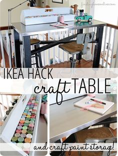 "Ikea Hack Craft Table (& Craft Paint Storage!): like the author, I go ""shopping in my garage"" all the time ;)"