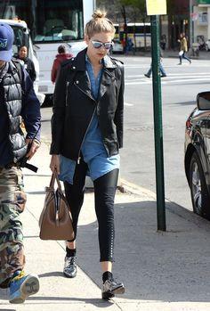 How Your Favorite Celebrities Wear Moto Jackets via @WhoWhatWear