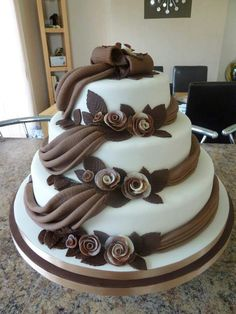 Cake with chocolate ribbon