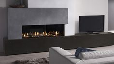 Stunning contemporary gas fire from #DRU #decor #interiordesign #livingroom