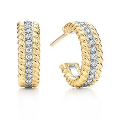 Tiffany & Co. Schlumberger® Rope two-row hoop earrings in 18k gold with diamonds. #TiffanyPinterest