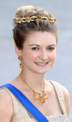 Hereditary Grand Duchess Stéphanie, wife of Hereditary Grand Duke Guillaume, wearing the Golden Topaz and Pearl Tiara, Luxembourg.