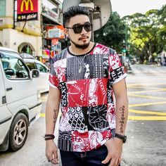 Summer Short Sleeve Punk Style Printed Mens