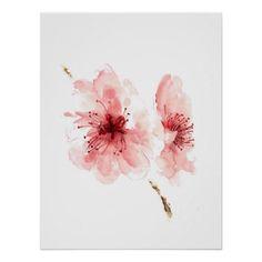 Pink cherry blossom white poster sakura print