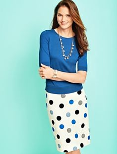 Talbots - Dotted Dots Jacquard Pencil Skirt | |