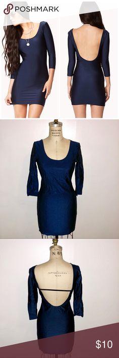 Forever 21 Bodycon Backless Navy Blue Dress BRAND NEW! Sexy bodycon backless dress. 3/4 sleeves. Round neckline. Unlined. Forever 21 Dresses Mini