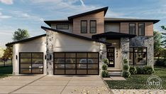 Stone accents and glass garage doors embellish the front of this smartly designed,2-story modern house plan. Just inside from the shelter of the co