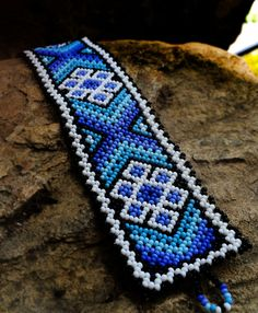 Huichol Bracelet by Niktee on Etsy Beaded Bracelet Patterns, Woven Bracelets, Seed Bead Bracelets, Handmade Bracelets, Beaded Jewelry, Handmade Jewelry, Seed Beads, Loom Patterns, Beading Patterns
