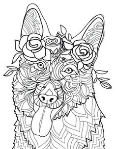 seeing eye dog coloring pages | 504 Best Cats + Dogs Coloring Pages for Adults images in ...