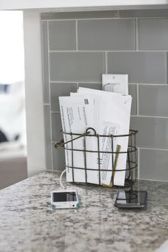 The basket! LOVE this counter and gray subway tile back-splash!