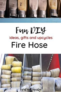 Fire Hose is only good for so long- and once it fails it's testing it needs to get reused into something else! That's where you come in! Find lots of inspo for creating new fire hose creations, DIYs and upcycles. If you get stuck on ideas this post is for you (or if you don't have any fire hose, check out the already made unique gifts!) Fire Hose Crafts, Fire Hose Projects, Fire Dept, Fire Department, Firefighter Family, Firefighter Decor, Do It Yourself Crafts, Fire Truck Room, Cool Gifts