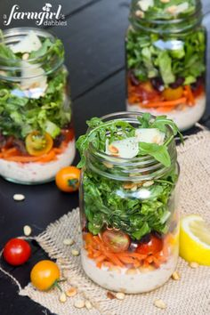 Italian Chopped Salad in a Jar {with Creamy Caesar Dressing} - www.afarmgirlsdabbles.com