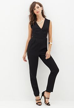 Surplice Woven Jumpsuit - Shop All - 2000059798 - Forever 21 EU Forever 21, Shop Forever, Black Jumpsuit, Chic, Latest Trends, Rompers, Classy, Glamour, My Style