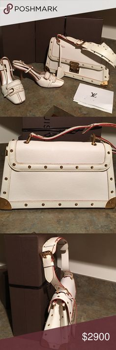 LOUIS VUITTON , RARE 2 PIECE STUDED BAG AND PUMPS. Louis Vuitton, authentic rare studded shoulder bag and sling back pumps.This gorgeous cream /cream with a reddish brown trim, natural grain leather bag with gold tone stud detail and corners,is in pristin
