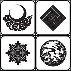 tsukinikumo, sumitatesayagatainazuma, asahiko, naminitsubame (natural - kamon) - japanese family crests, via peacay