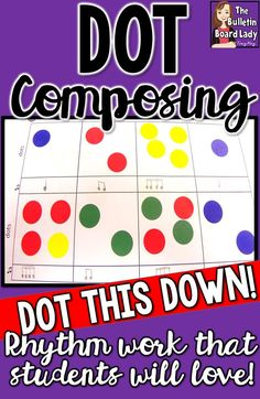 Dot composing is an easy way to get your music students to become composing utilizing rhythm work. Stickers or dabbers are great for this activity that can be used many times in your classroom. - This would be a smart idea! Music Lessons For Kids, Music Lesson Plans, Music For Kids, Kindergarten Music Lessons, Elementary Music Lessons, Piano Lessons, Art Lessons, Music Education Activities, Music Activities For Kids