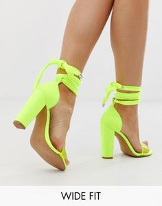 Shop ASOS DESIGN Wide Fit Witness barely there block heeled sandals in neon yellow at ASOS. Discover fashion online.