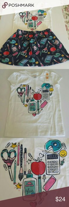 NWT - Gymboree Girls Size 4 Matching Set Adorable school supplies print on this girls size 4 white cap sleeve shirt with matching skort! Made by Gymboree, both shirt and skort 100% cotton, machine wash cold, inside-out, gentle cycle, tumble dry low, warm iron on reverse if needed. Such a fun little set! My daughter loves the skorts, enables her to do all sorts of fun activities while allowing for that girly-girl look!! :) Gymboree Matching Sets