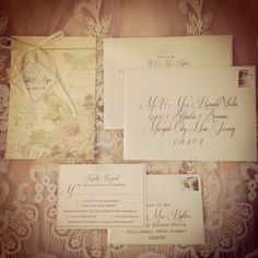 Romantic Shabby chic sewn wedding invitation with vintage cover & swing tag by Just Be.  www.justbestudio.com