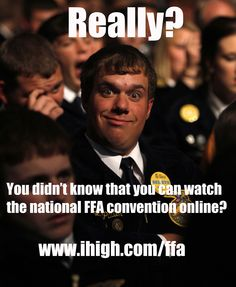 Watch the national FFA convention sessions live at www.ihigh.com/ffa or on RFD-TV! www.ffa.org/convention Way Of Life, My Life, Learn Earn, Madam President, Farmer's Daughter, Environmental Education, National Convention, Ffa, Agriculture