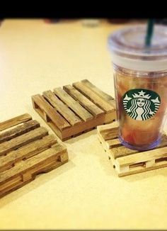 Isn't So funny? Mini pallet coasters! Made with popciles sticks...