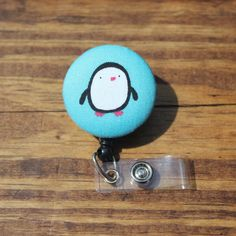 Penguin Badge Reel, Light Blue, Animals, Birds, ID holder, Retractable,Swivel Clip,RN, CnA, Coach, Teacher, Fabric Badge by TheNerdyFatCat on Etsy