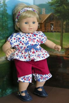 Bitty Baby Ruffle Top and Capris  American by cupcakecutiepie, $29.00