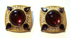 Gem-Craft Large Rhinestone Clip on Earrings Vintage