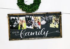 Arts And Crafts Supplies Picture Frame Display, Family Picture Frames, Picture Frame Crafts, Picture Gifts, Photos Encadrées, Indoor Crafts, Crafts With Pictures, Photo Boards, Family Birthdays
