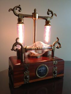 handmade steampunk lamp with vintage gauge by LaBoutiqueVapeur