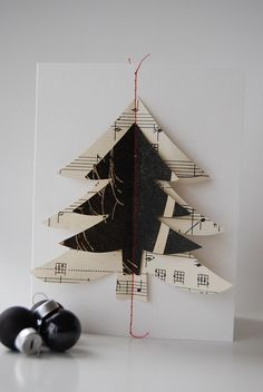 Christmas Card - hand made from vintage sheet music, celebrate the holiday season.. $5.00, via Etsy.