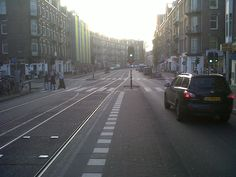 waiting for the tram.