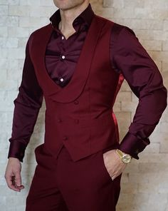 S by Sebastian Burgundy Double Breasted Waistcoat Mens Fashion Blazer, Suit Fashion, Fashion 2020, Costume Africain, Double Breasted Waistcoat, Waistcoat Men, Mode Costume, Designer Suits For Men, Indian Men Fashion