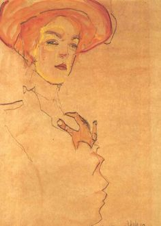 Portrait of a Woman with Orange Hat, Egon Schiele ✖️More Pins Like This One At FOSTERGINGER @ Pinterest✖️