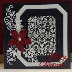 Made with the 2015 Christmas striplet, 2014 poinsettia top and bottom , Noble - Classic Adorned Rectangle die and finishing touches grand vinery and petite vinery