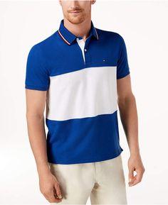 135e6d3fb Tommy Hilfiger Men s Logo Colorblocked Custom Fit Polo   Reviews - Polos -  Men - Macy s