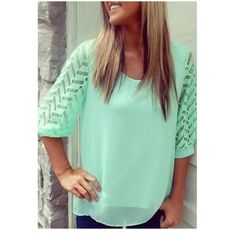 Chiffon blouse Teal stylish scoop neck half sleeve hollow out back chiffon blouse never worn. It's a size XL but fits like a Medium. Tops Blouses
