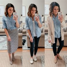 CAPSULE TIP 🍁 6 ways to style a chambray shirt! This is a must have for all seasons in my wardrobe! I have had my chambray for years and… Chambray Shirt Outfits, Denim Shirt, Fall Winter Outfits, Autumn Winter Fashion, Shirt Over Dress, Look Camisa Jeans, Indian Fashion Trends, Fashion Styles, Fashion Ideas